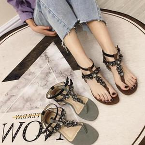 Goddess2019 Zhenpi Xia Snake Rhinestone T принести сандалии с плоским носком Джокер Рим Песчаный пляж женская обувь Tide