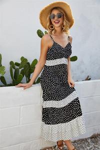 Vestidos de Bohemia Casual lunar de color natural atractivo del vestido con cuello en V vestido sin mangas para mujer Ropa para mujer de diseño de impresión