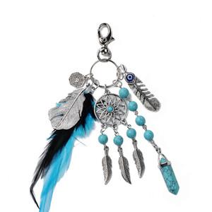 Moda Dream Catcher Anahtarlık Yaratıcı El Yapımı Doğal Taş Tüy Püsküller kolye Anahtarlık Boho Takı Parti Hediye LT-TTA1150