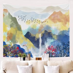 Paysage coloré artistique Peinture tapisserie murale de style Nail sans décoration Salon Chambre style chinois Tissu Fond d'écran