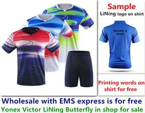 EMS Atacado gratuitamente, impressão de texto de graça, camisa nova badminton roupas de ténis de mesa camisa esporte T roupas B005