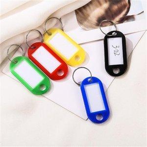 50 pcs Coloré En Plastique Porte-clés Bagages ID Tags étiquettes Porte-Clés avec nom Cartes pour de nombreuses utilisations-grappes de clés