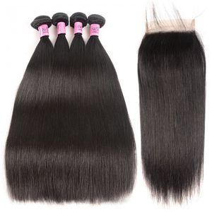 TKWIG serie brasileña humana del pelo 4 paquetes con cierre de cordones 7x7 paquetes de pelo rectos con extensiones de cabello Remy encajes de cierre