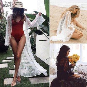Womens de banho Sexy Lace ver através de manga comprida Bikini Cover Up Floral Swimwear Verão Beach Dress