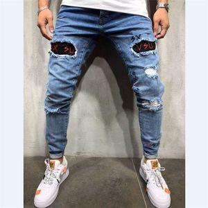 Homens da neve Buracos retalhos lavado Ripped Jeans Além disso Big tamanho da mancha de Slim Vintage reta calças jeans longas longa dos homens Jeans