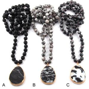 Collane del pendente di goccia nere annodate lunghe delle pietre semi preziose dei gioielli tribali della Boemia di modo libero di trasporto