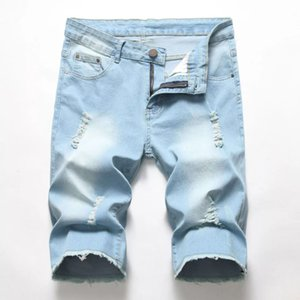 New summer men's jeans European and American fashion holes worn out worn casual personality denim shorts five-point pants