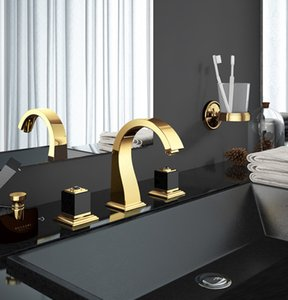 Basin Faucets Brass Golden Paint 3 Holes Double Handle Bathroom Sink Faucet  Bathbasin Bathtub Taps Hot Cold Mixer Water