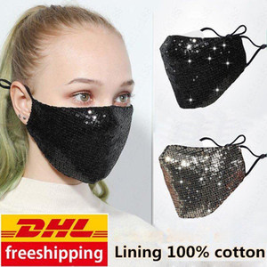 DHL Free Ship Fashion Bling Bling Sequins Designer Mask PM2.5 Dustproof Mouth cover Washable Reuse Face Mask Elastic Earloop Mouth Mask