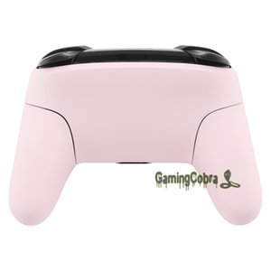 Soft Touch Sakura Pink Faceplate Backplate Housing Shell Cover with Handles Replacement for Nintendo Switch Pro Controller