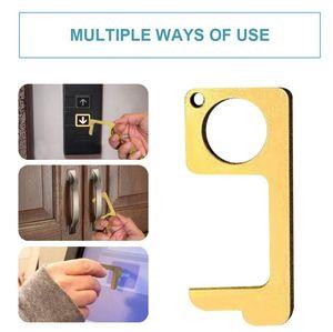 METAL EDC Hayır İletişim Kapı Açıcı Düğme İtici Anahtarlık Anahtarlık Kapı Closer Aracı Dokunmadan Button Tool KKA7882