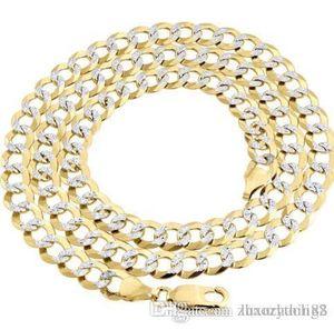"Reale 10K Yellow Solid Gold Fill Diamond Cut Cuban Catena 7,25 millimetri collana 24"""
