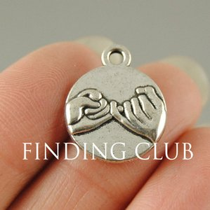 Cheap Charms 30 pcs Silver Color bronze hand in hand Pinky Swear Promise Charms Metal Bracelet Necklace Jewelry Findings A521 A404