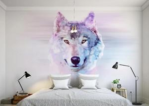 Bacal 주문 사진 벽지 3D 동물성 늑대 벽화 벽 종이 거실 소파 배경 장식적인 벽 3d 벽지