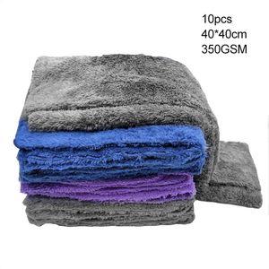 10 шт. / компл. уход за автомобилем полировка мыть полотенца микроволокна автомобиль подробно очистки мягкие ткани домашнего окна 40x40 см 350GSM сушки полотенце