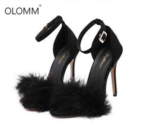 Zapatos talones de la manera 11cm Los diseñadores de verano mujeres del estilete Sandalen punta abierta Pelusa tiras finos de los altos talones de encaje hasta sandalias de piel