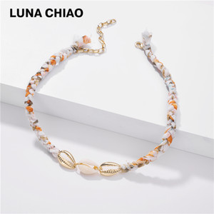 CHIAO Fashion Jewelry Boho Bohemian Colorful Braided Fabric Chain Choker Shell Conch Short Necklace Summer Vocation Women