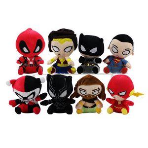 Vingadores de brinquedos de pelúcia 13 cm Superman Batman Animais De Pelúcia Flash Black Panther Quin Mulher Maravilha Rei Do Mar Super Herói bonecos De Pelúcia