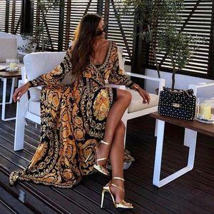 여자 인쇄 드레스 고품질 섹시한 여성 분할 드레스 패션 새로운 도착 드레스 크기 S-3XL PH-YF205117