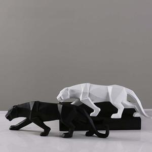 Creativo Astratto Nero Pantera Scultura In resina Geometrica Leopardo Statua Decorazione della fauna selvatica Regalo Artigianato Decorazione Accessori Arredamento