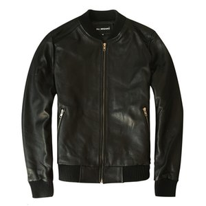 Men's Leather Jacket Real Sheepskin Coat Genuine Cow Leather Jacket Men Plus Size Bomber Chaqueta Cuero Hombre LC-1002 KJ2278