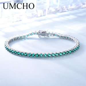 Umcho 8.1ct luxo esmeralda pulseiras para as mulheres 925 pulseira de prata esterlina Birthstone romântico casamento verde Gemstone jóias J 190511
