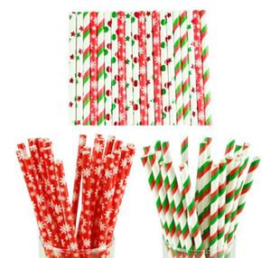 Бумага Соломинки Снежинка бумаги Солома Merry Christmas Decoration Для дома Happy New Year Party Посуда Красный