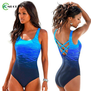 Gradient Color Cross Retour Maillot de bain Taille Plus Maillots de bain Femme Femme Vintage Sport One Piece Beachwear Maillot De Bain Bikini