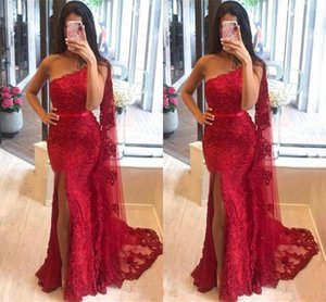 2020 Red Lace Mermaid Prom Dresses One Shoulder Tulle Lace Applique High Split Slit Formal Party prom Dress Evening Gowns