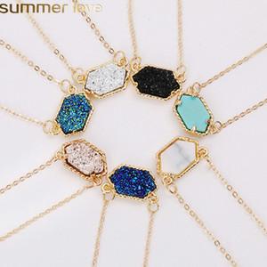 Novo Desenho Geométrico druzy colares 14 colore o ouro de prata banhado Geometria pendente de colar de pedra para Elegant Mulheres Meninas moda jóias