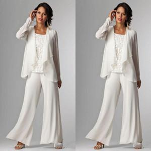 Mère de costumes pas cher de mariée Trois pièces avec veste blanche en mousseline de soie dentelle Jewel cou à manches longues Robe Invité de mariage Taille Plus Robe Mères