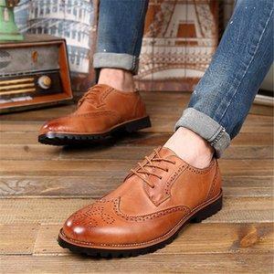 2019 Марка Мода Мужчины BROGUE Oxfords Черный Коричневый Размер 38-43 шнуровке дизайн Человек вскользь кожаные ботинки