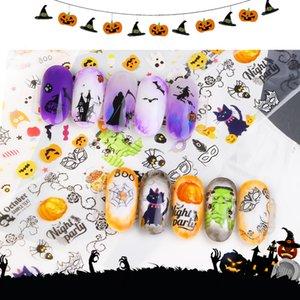 3D Nail Stickers Transfer Paper Halloween Slider Designs Skull Pumpkin Flora Moon Magic Midnight Ghost Decoration Tattoo F664
