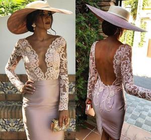 Blush Pink Madre de los vestidos de novia para boda Vestido de manga larga con cuello en V para mujer Vestidos de noche de talla grande
