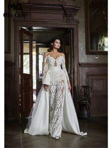 2020 vestidos de novia de la boda del mono del nuevo cordón mera duración larga de las mangas Apliques piso Vestidos de novia Vestido de festa Con Durante Faldas