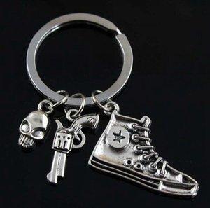 YENİ ! Kafatası Kafatası Gun Ayakkabı Yaratıcı DIY Anahtarlık İyi Arkadaş Yaratıcı Anahtarlık Charm Pendant anahtarlığı Moda Alaşım Takı 699