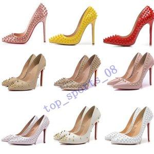 chaussures de marque chaudes femmes rouges prunelliers pompes chaussures à talons rivets bout pointu fines chaussures de mariage dame talon bas pour le rouge 8cm 10cm 12cm 35-44