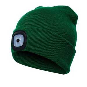 Unisex Climbing Fishing Beanie Hat Running Outdoor Knitted Camping LED Light