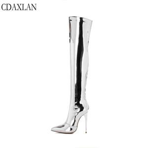 CDAXILAN recém-chegados ao longo do joelho botas de luz de couro das mulheres super salto alto apontou zíper lateral thingh botas de dança