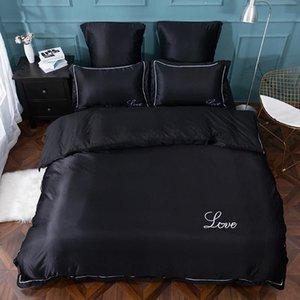 ropa de cama de lujo YAXINLAN establecer pura seda de satén color puro estilo europeo bordado sábana, colcha cubierta de la funda de almohada 4-6pcs Y200111