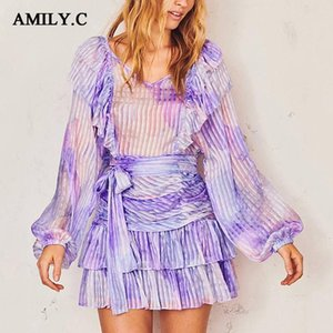 Amily.c Summer 2020 Fashion Elegant Lady Dress Sexy V-neck Puff Sleeve Ruffled Bow Party Mini Dress Vestidos