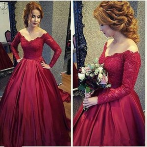 Vestido de baile rojo Vestidos de fiesta 2019 manga larga Vestido de fiesta importado Vestidos de Fiesta Largos Elegantes de gala vestidos de noche formales