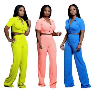 Frauen Sportanzug Revers Neck Button T-Shirt Hosen Trainingsanzug 2 Stück Set Sportswear kurze Oberteile Wide Leg Pant Outfits LJJA2805