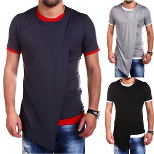 Faux Deux hommes Designer T-shirts irrégulière Casual Couleur Solid Slim manches courtes T-shirts ras du cou Pull Mode Hommes T-shirts