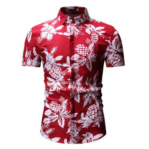 Designer Floral Print Slim Fit Mens Shirts Summer Casual Turn Down Collar Shirts Fashion Contrast Color Male Tops