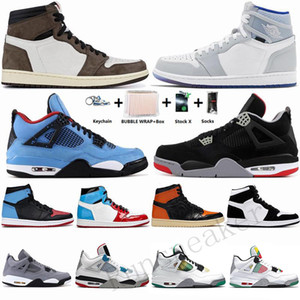 1 High Travis Scotts 1s Low-Basketball-Schuhe 2020 Fearless Obsidian UNC Chicago 4s Bred Cactus Jack What The Rasta Trainer Männer Turnschuhe