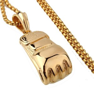 Men Women Punk Stainless Steel Boxing Glove Chain Pendant Necklace Factory Sale Fashion Hip Hop Jewelry