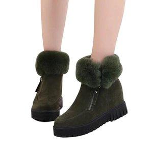 KHTAA Fashion Faux Suede Zipper femmes Bottines plate-forme croissante Hauteur de neige Bottes chaud en peluche Femme Fluffy