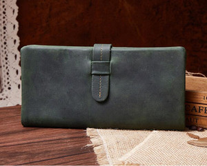 2019 First layer of cowhide Retro Distressed Men's and women's wallets card holders Fashion clutch Crazy horse skin High-end fashion bag 23#