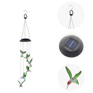 DHL ENVIAR Solar Wind Chime LEVOU Luz Colibri Presente Cor LED Descoloração Decoração Do Jardim Pendurado Luz Da Parede